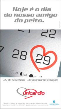 Anúncio veiculado no Jornal de Santa Catarina no dia 29/09/02 em comemoração ao Dia Mundial do Coração (2002)
