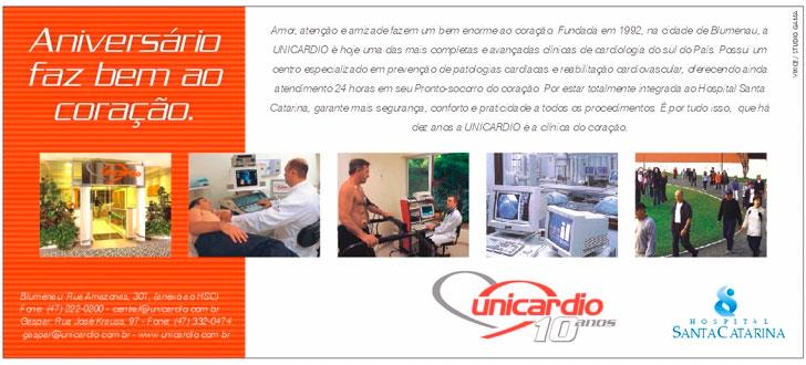 Anúncio veiculado no jornal de santa Catarina no dia 01/08/02 em comemoração aos 10 anos de UNICARDIO (2002)