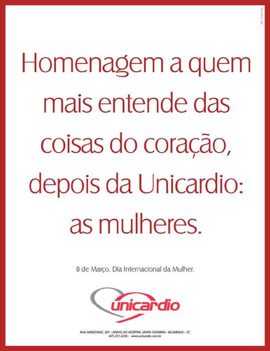 Anúncio veiculado no Jornal de Santa Catarina no dia 08/03/04 em Homenagem ao Dia Internacional das Mulheres