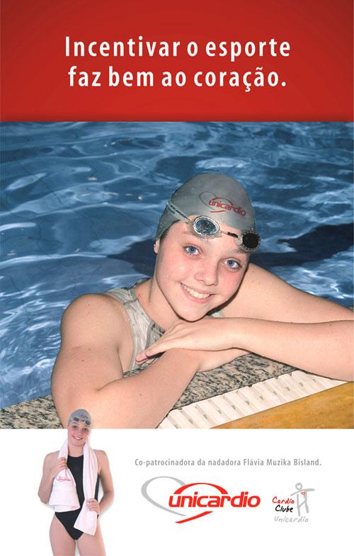 Divulgação do patrocínio para a Nadadora Infanto-Juvenil Flavia Muzika Bilslan