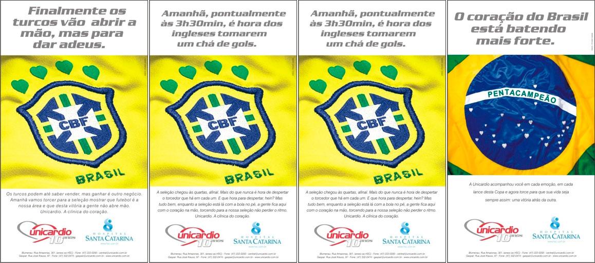 Campanha Publicitária Veiculada no Jornal de Santa Catarina nos dias de Jogo da Copa do Mundo quando o Brasil entrava em campo (2002)